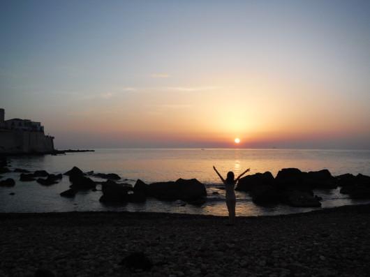 イタリア、シチリア島、シラクーザの朝日